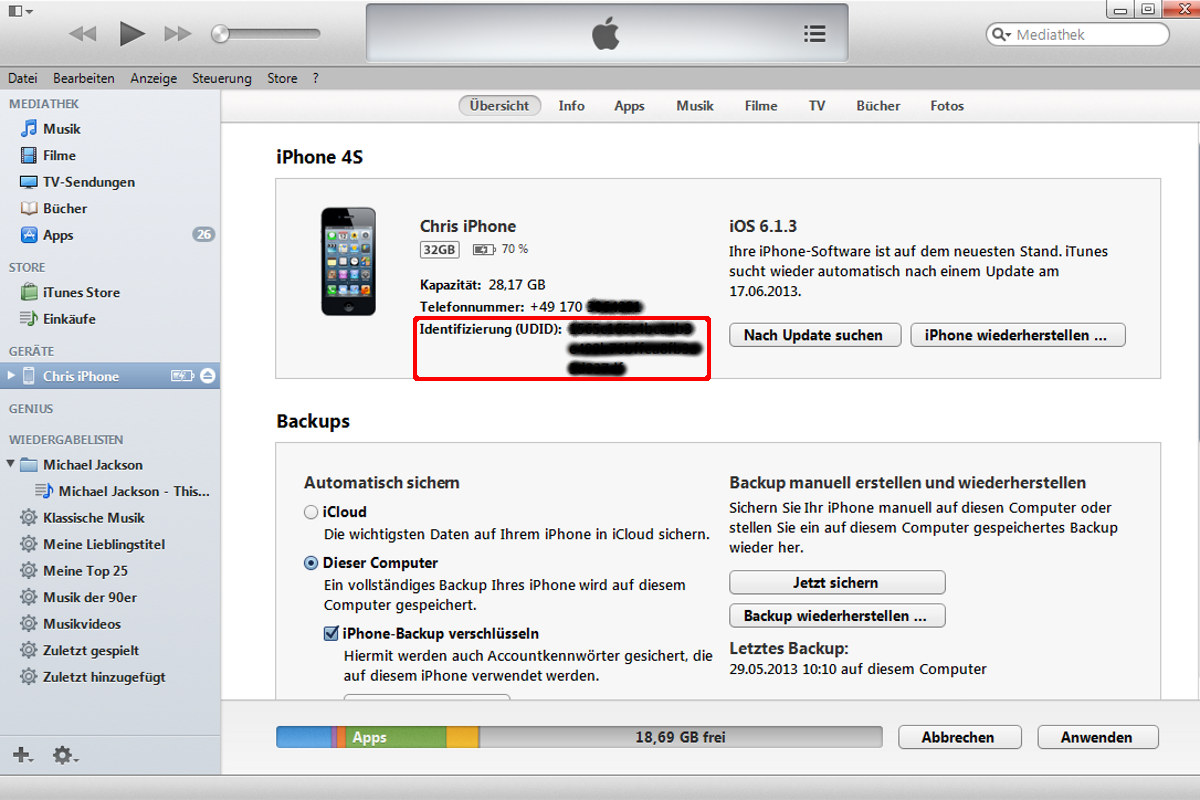 ITunes Identifizierungsnummer UDID iPhone, IPad и IPod